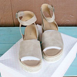 Soda Shoes - SODA Topic Flatform Sandals Espadrille Tan Brown